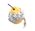 Pear wrap with measure tape for diet Stock Photo