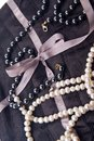 Pearl beads on silk Stock Image