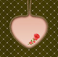 Pearl grid green velvet gold chain heart roses Royalty Free Stock Images