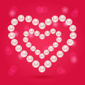 Pearl heart on pink valentaine day background hearts illustration Royalty Free Stock Photography