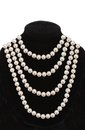 Pearl necklace on black mannequin isolated on white Royalty Free Stock Photo