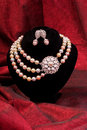Pearl necklace and earring Royalty Free Stock Photo