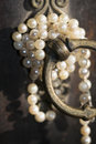 Pearl necklace family jewellery beautiful and old necklaces Stock Photo