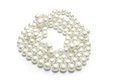 Pearl necklace isolated white Stock Photo