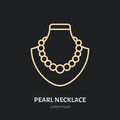 Pearl necklaces on dummy illustration. Jewelry flat line icon, jewellery store logo. Jewels accessories sign
