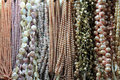 Pearl necklaces many colorful Stock Image