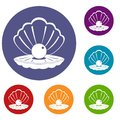 Pearl in a sea shell icons set Royalty Free Stock Photo