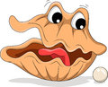 Pearl shell shocked expression cartoon Royalty Free Stock Photography