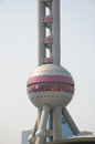 Pearl tower a close up of the bottom sphere at the in pudong shanghai china Royalty Free Stock Photo