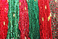 Pearls chains colorful on display Royalty Free Stock Images