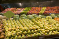 Pears apples fruits supermarket lots of organic for sale in a Royalty Free Stock Photos