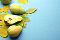 Pears and autumn leaves Royalty Free Stock Photo