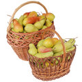 Pears in a basket on white Royalty Free Stock Images