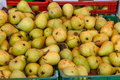 Pears on boxes from a market Royalty Free Stock Photo
