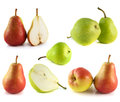 Pears collection on white background red green Stock Images