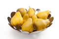 Pears in contemporary silver bowl Royalty Free Stock Photography