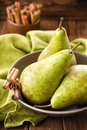 Pears fresh green on a plate Stock Photography