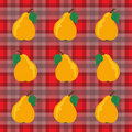 Pears and Gingham Stock Photos