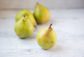 Pears golden ripe with focus on front pear and copy space Royalty Free Stock Photography
