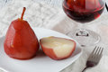 Pears poached in red wine sauce Royalty Free Stock Photo