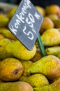 Pears for sale fresh with a price sign Stock Photo