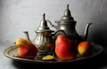 Pears on a silver dressing