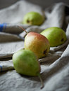 Pears still life with on a linen Royalty Free Stock Image
