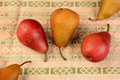 Pears on Table Cloth Royalty Free Stock Photos