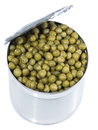 Peas in a can on white isolated background Royalty Free Stock Image