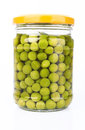 Peas in a glass jar Royalty Free Stock Photos