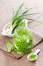 Peas onions glass jar Royalty Free Stock Photography