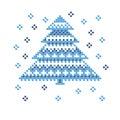 Peasant folk rustic motif of christmass tree