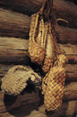 Peasant sandals sample of the th century on the wall log house made ​​of logs Stock Image