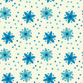 Peasant style simple floral pattern on blue color.