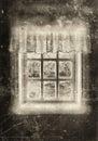 Peasant window sepia Royalty Free Stock Photo