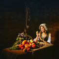 Peasant woman cook a festive meal to the day of harvest retro stylized image Royalty Free Stock Photos