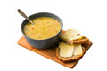 Peasoup with bread dutch in a bowl and cheese Royalty Free Stock Image