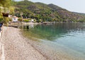 Pebble beach in limni village euboea greece is a town and a community the northwestern part of the island of it has been suggested Royalty Free Stock Image