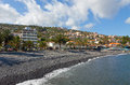 Pebble beach in santa cruz madeira island portug town on portugal Royalty Free Stock Photography