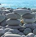 Pebble bridge on a beach Royalty Free Stock Photography