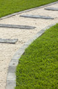 Pebble path in grass Royalty Free Stock Photography