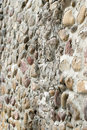 Pebbles built the wall side of large cobblestone Royalty Free Stock Photos