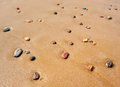 Pebbles in sandy beach Royalty Free Stock Photo