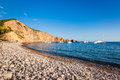 Pebbly beach of ibiza balearic islands spain Royalty Free Stock Photo
