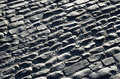 Pebbly pavement of the spanish ancient road cobble is made from stone shingles Stock Images
