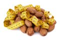 Pecan meter over white background Stock Photography