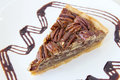 Pecan nuts pie with slice with dark chocolate drizzle on white plate closeup Stock Images