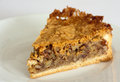 Pecan pie the slice on a plate Royalty Free Stock Photography
