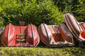 Pedal boats located on the shores of lake solina in poland Royalty Free Stock Photos