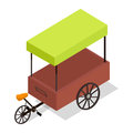Pedal-powered Street Cart Store Isometric Vector